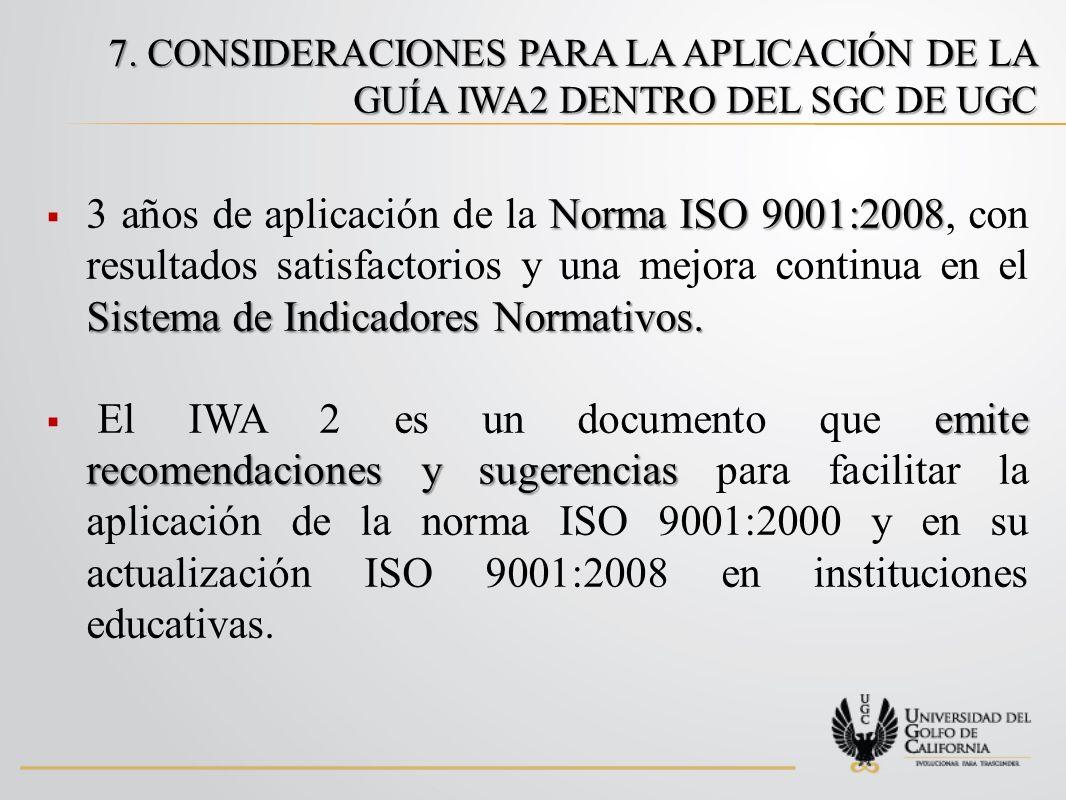 7. CONSIDERACIONES PARA LA APLICACIÓN DE LA GUÍA IWA2 DENTRO DEL SGC DE UGC