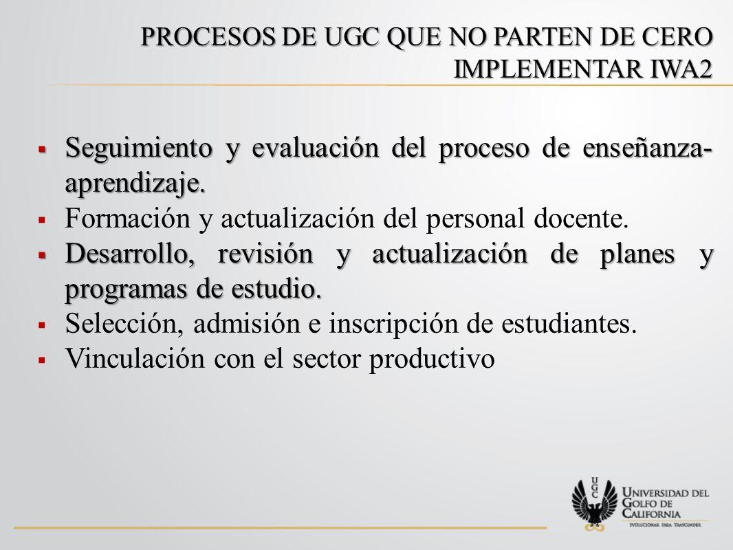 PROCESOS DE UGC QUE NO PARTEN DE CERO IMPLEMENTAR IWA2