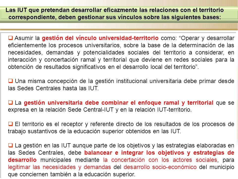 Las IUT que pretendan desarrollar eficazmente las relaciones con el territorio correspondiente, deben gestionar sus vínculos sobre las siguientes bases: