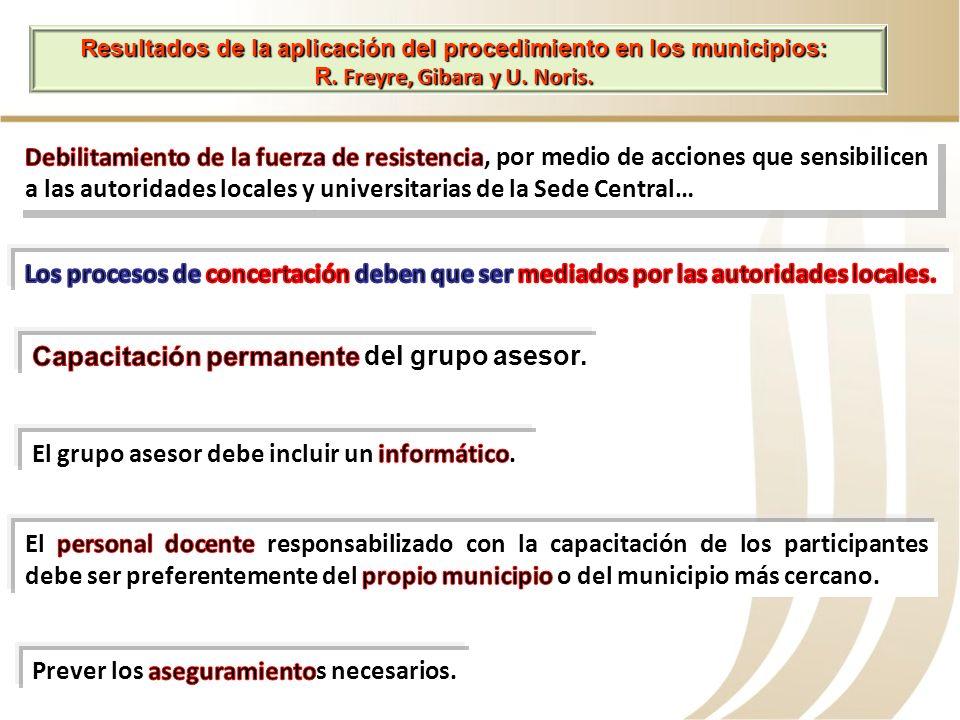 Capacitación permanente del grupo asesor.