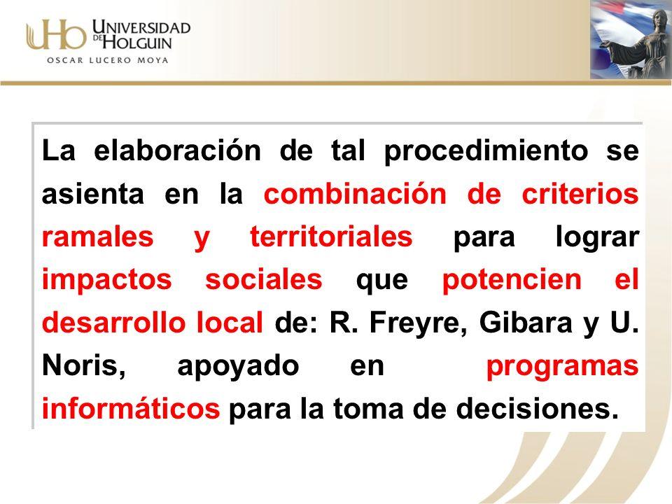 La elaboración de tal procedimiento se asienta en la combinación de criterios ramales y territoriales para lograr impactos sociales que potencien el desarrollo local de: R.