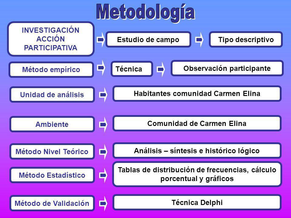 Metodología INVESTIGACIÓN ACCIÓN PARTICIPATIVA Estudio de campo