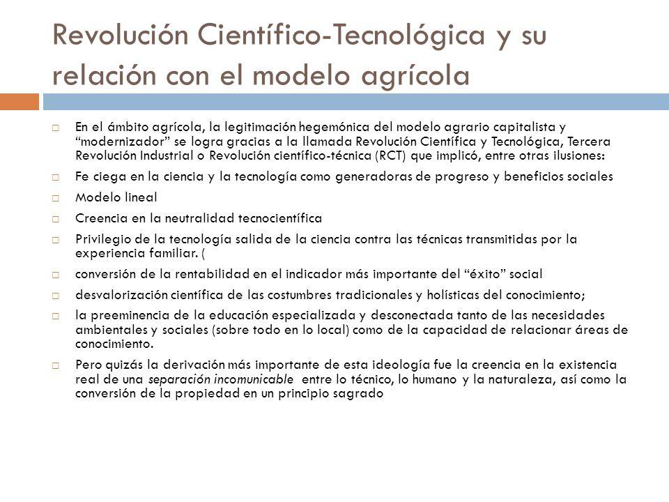 Revolución Científico-Tecnológica y su relación con el modelo agrícola