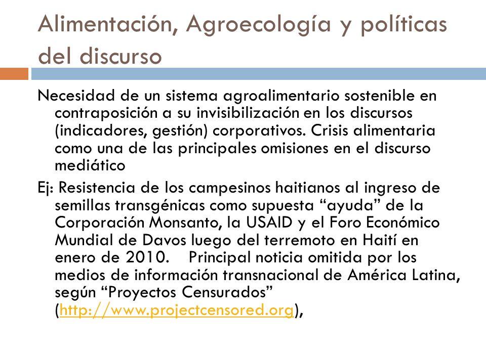 Alimentación, Agroecología y políticas del discurso