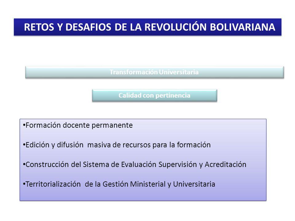 RETOS Y DESAFIOS DE LA REVOLUCIÓN BOLIVARIANA