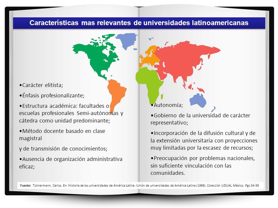 Características mas relevantes de universidades latinoamericanas