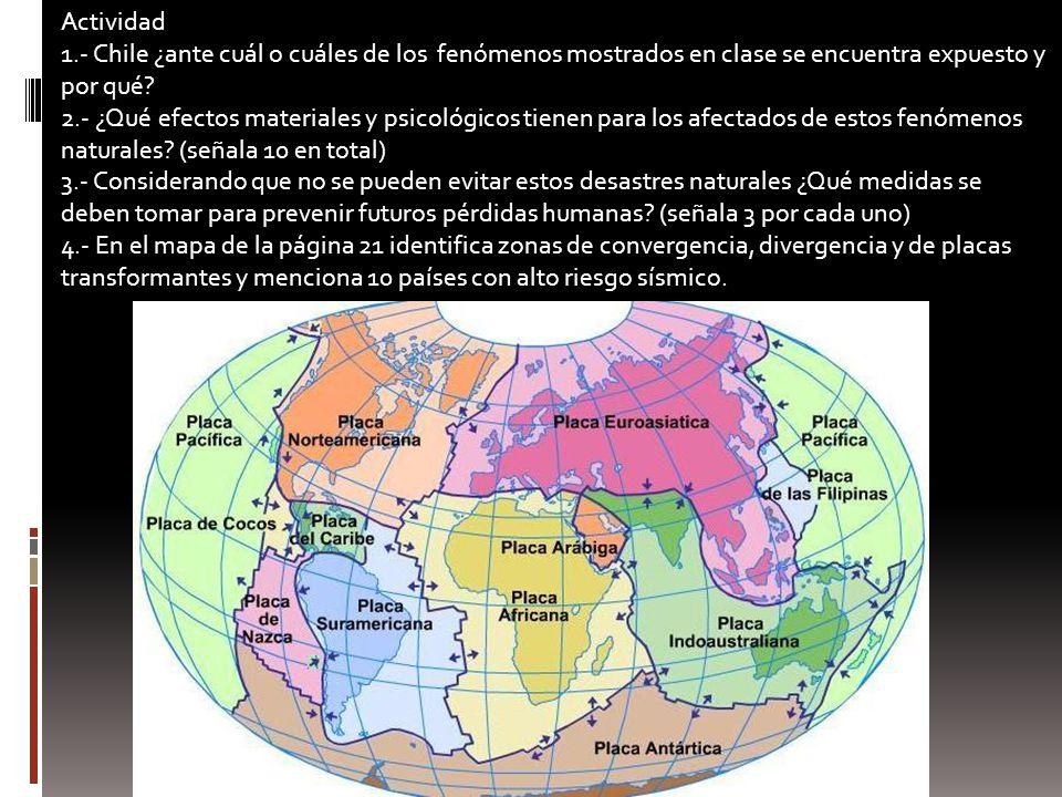 Actividad 1.- Chile ¿ante cuál o cuáles de los fenómenos mostrados en clase se encuentra expuesto y por qué