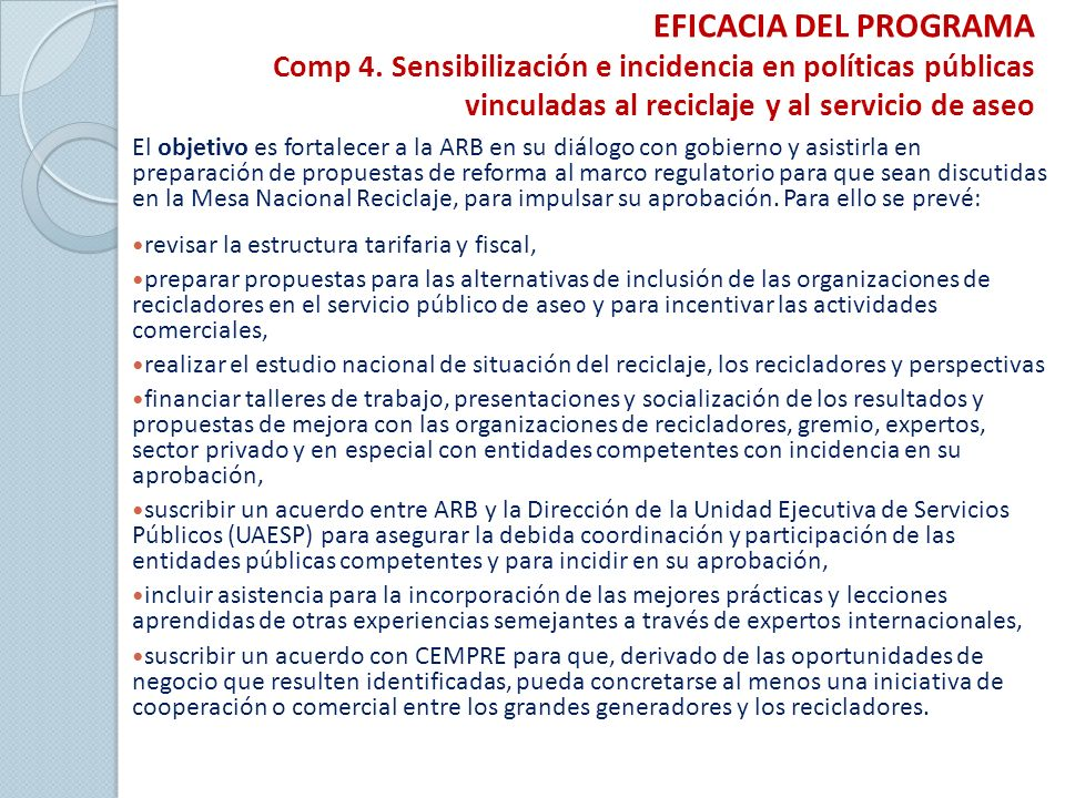EFICACIA DEL PROGRAMA Comp 4