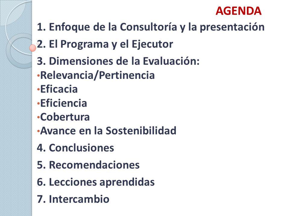 AGENDA 1. Enfoque de la Consultoría y la presentación