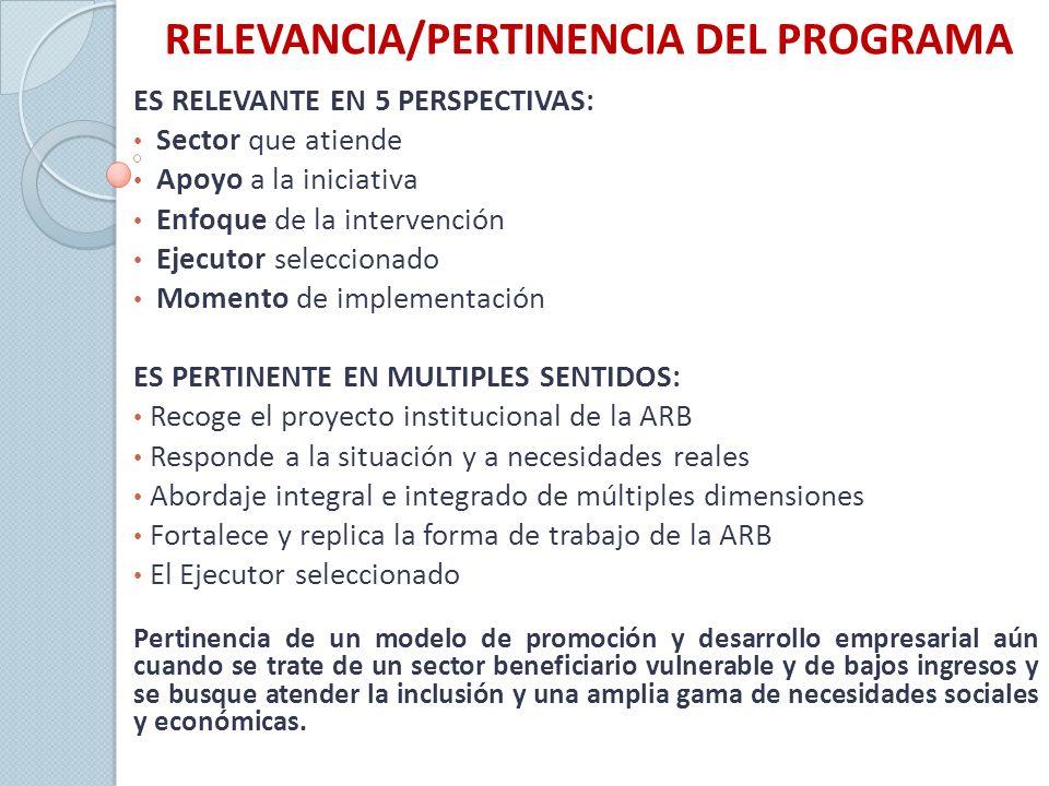 RELEVANCIA/PERTINENCIA DEL PROGRAMA