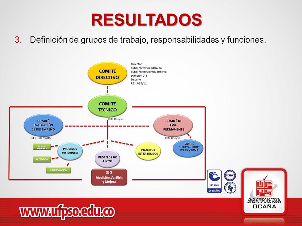 RESULTADOS Definición de grupos de trabajo, responsabilidades y funciones.