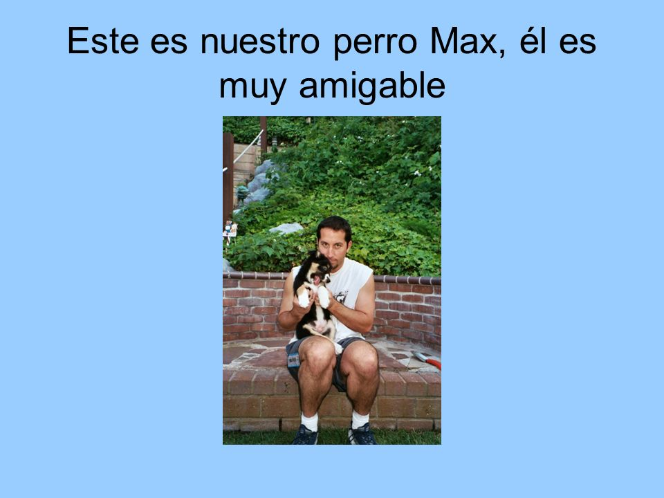 Este es nuestro perro Max, él es muy amigable