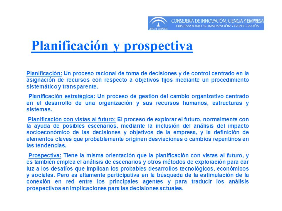 Planificación y prospectiva