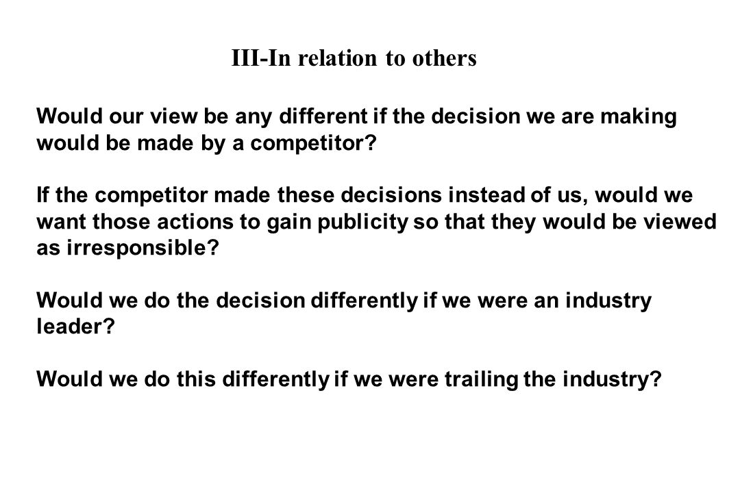 III-In relation to others