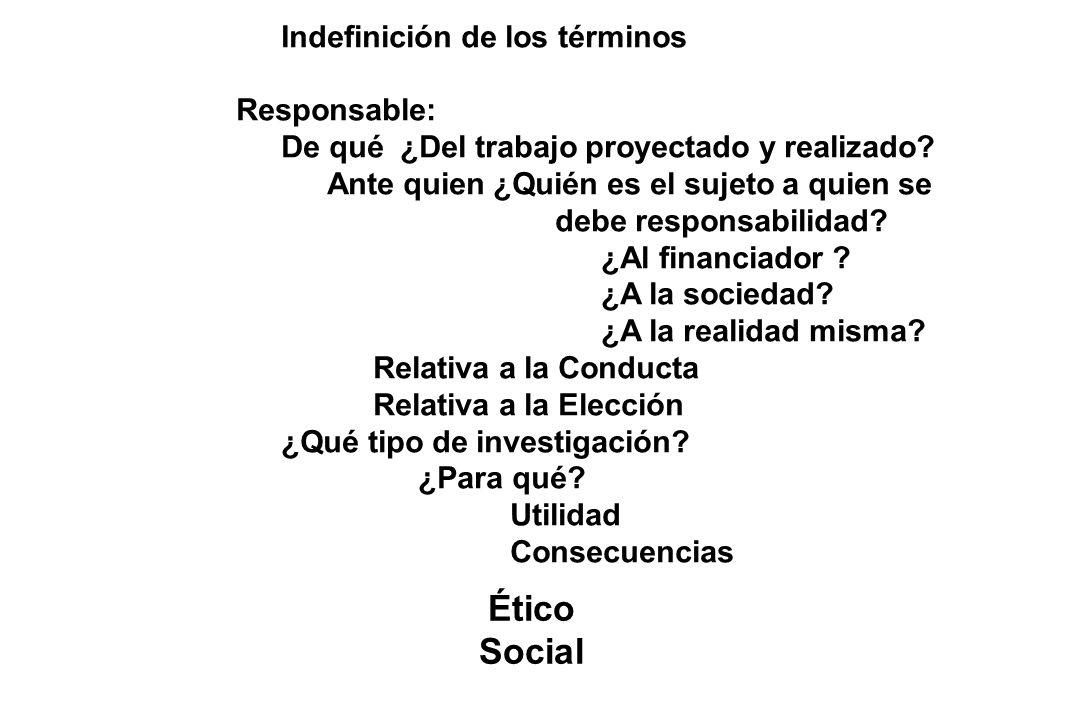 Ético Social Indefinición de los términos Responsable:
