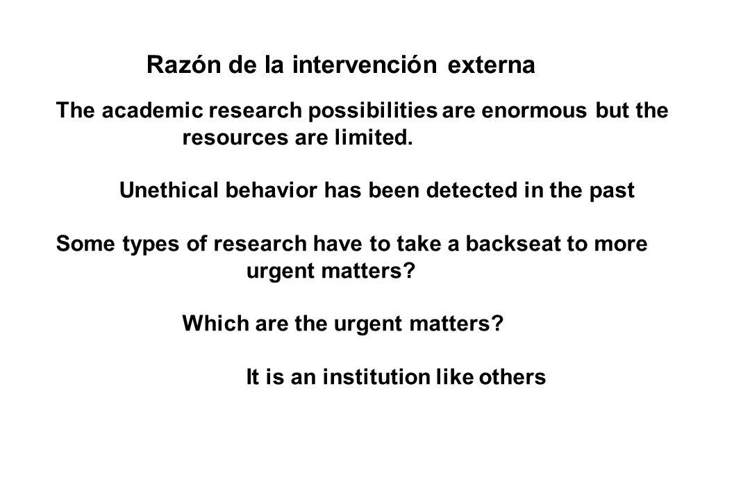 Razón de la intervención externa