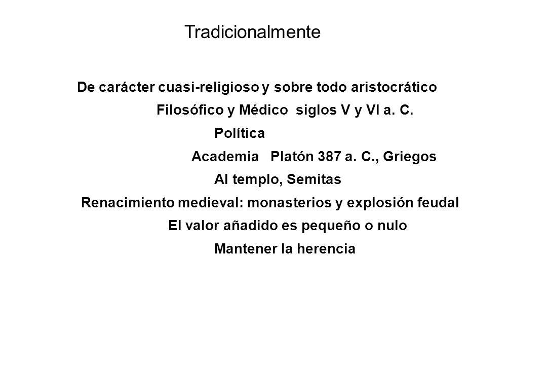 Tradicionalmente De carácter cuasi-religioso y sobre todo aristocrático. Filosófico y Médico siglos V y VI a. C.