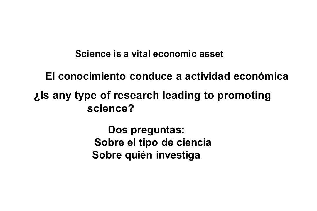El conocimiento conduce a actividad económica Sobre el tipo de ciencia