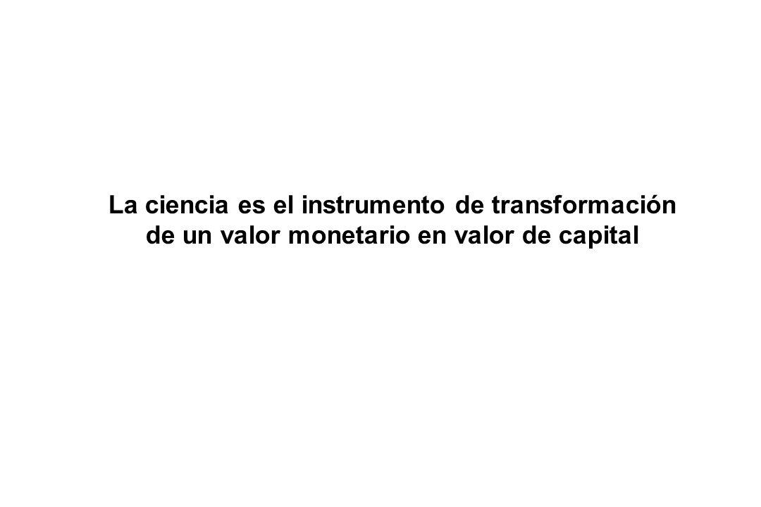 La ciencia es el instrumento de transformación de un valor monetario en valor de capital