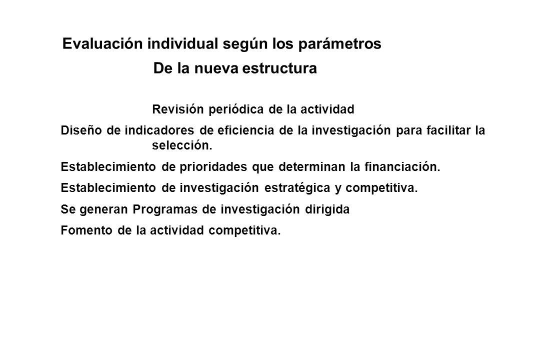 Evaluación individual según los parámetros De la nueva estructura