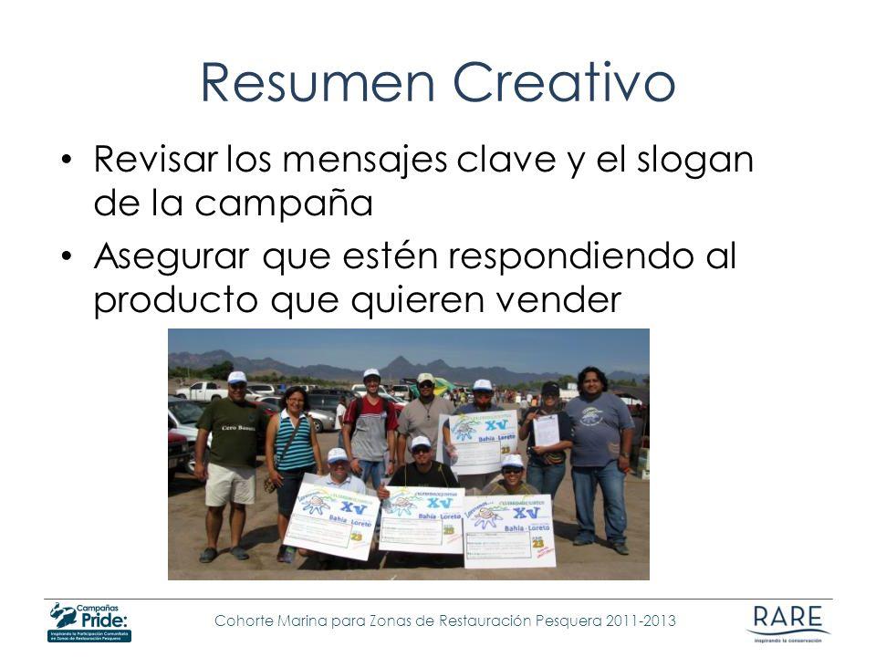 Resumen Creativo Revisar los mensajes clave y el slogan de la campaña