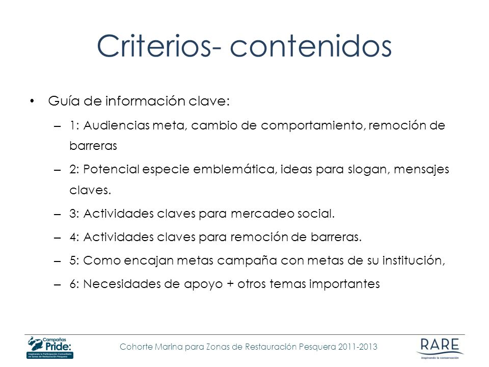 Criterios- contenidos