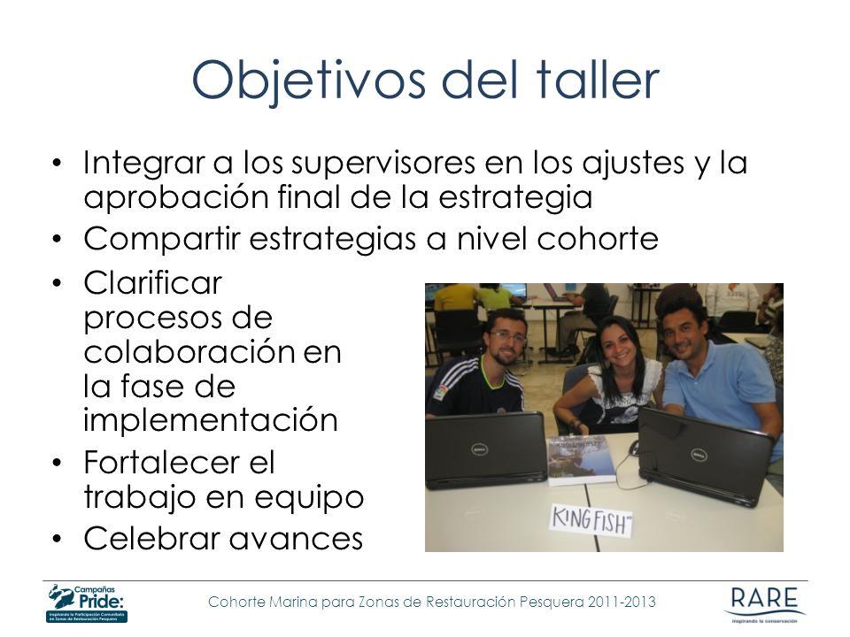 Objetivos del taller Integrar a los supervisores en los ajustes y la aprobación final de la estrategia.