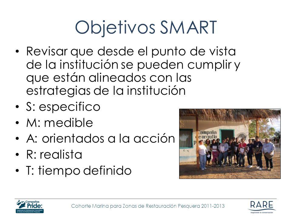 Objetivos SMART Revisar que desde el punto de vista de la institución se pueden cumplir y que están alineados con las estrategias de la institución.