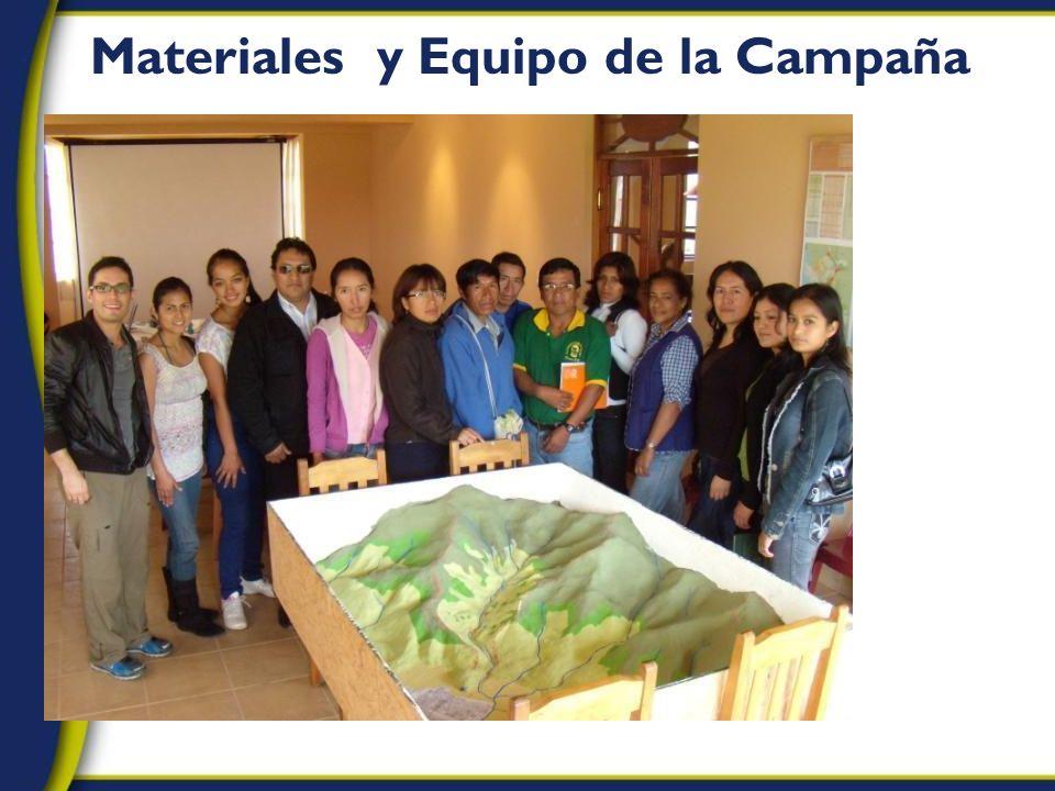 Materiales y Equipo de la Campaña
