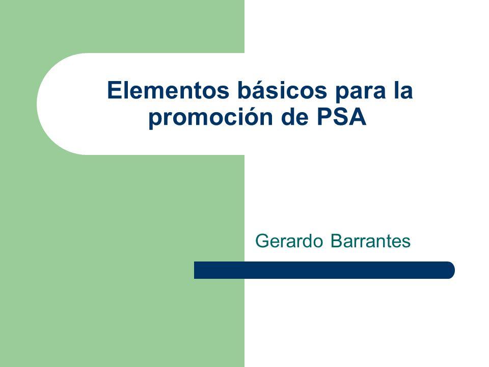 Elementos básicos para la promoción de PSA