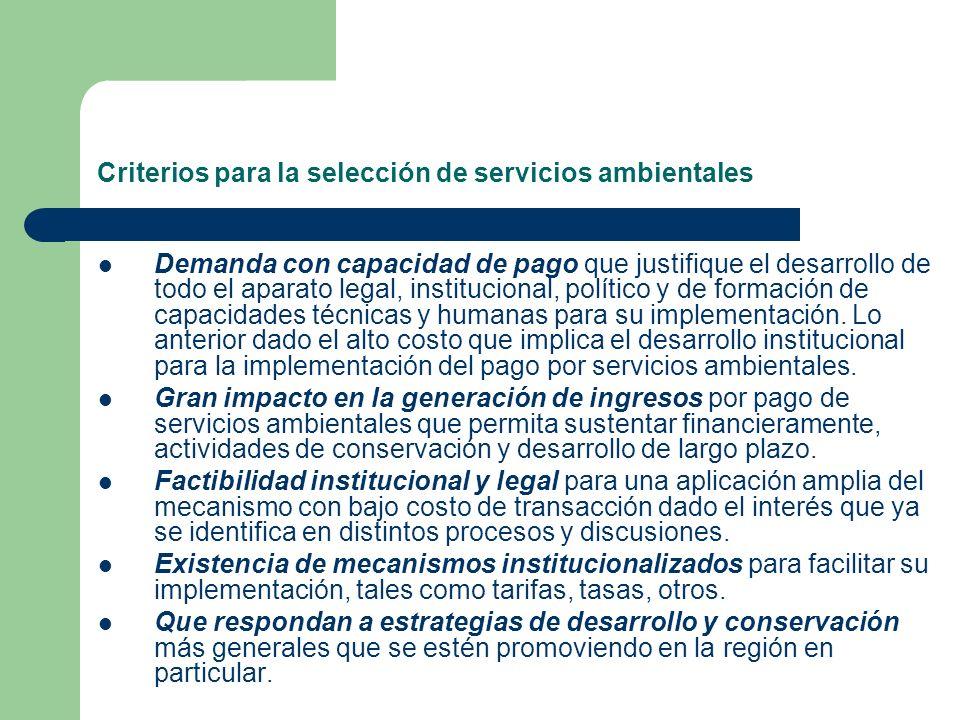 Criterios para la selección de servicios ambientales