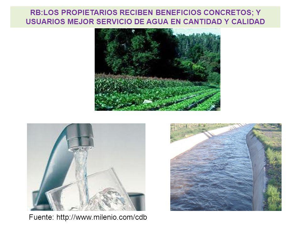RB:LOS PROPIETARIOS RECIBEN BENEFICIOS CONCRETOS; Y USUARIOS MEJOR SERVICIO DE AGUA EN CANTIDAD Y CALIDAD