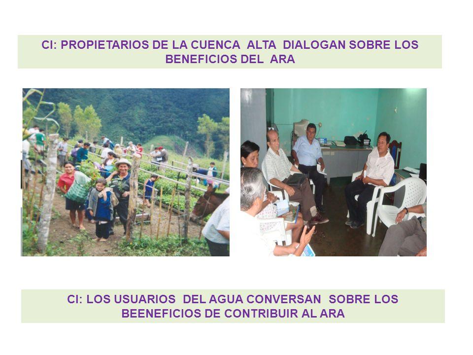 CI: PROPIETARIOS DE LA CUENCA ALTA DIALOGAN SOBRE LOS BENEFICIOS DEL ARA