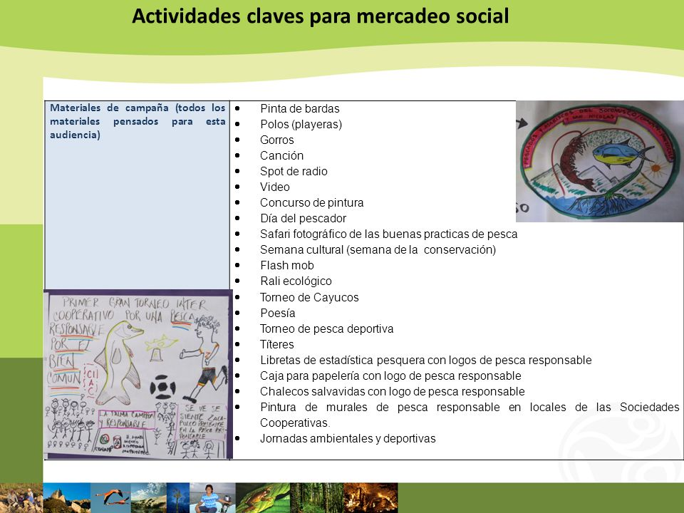 Actividades claves para mercadeo social