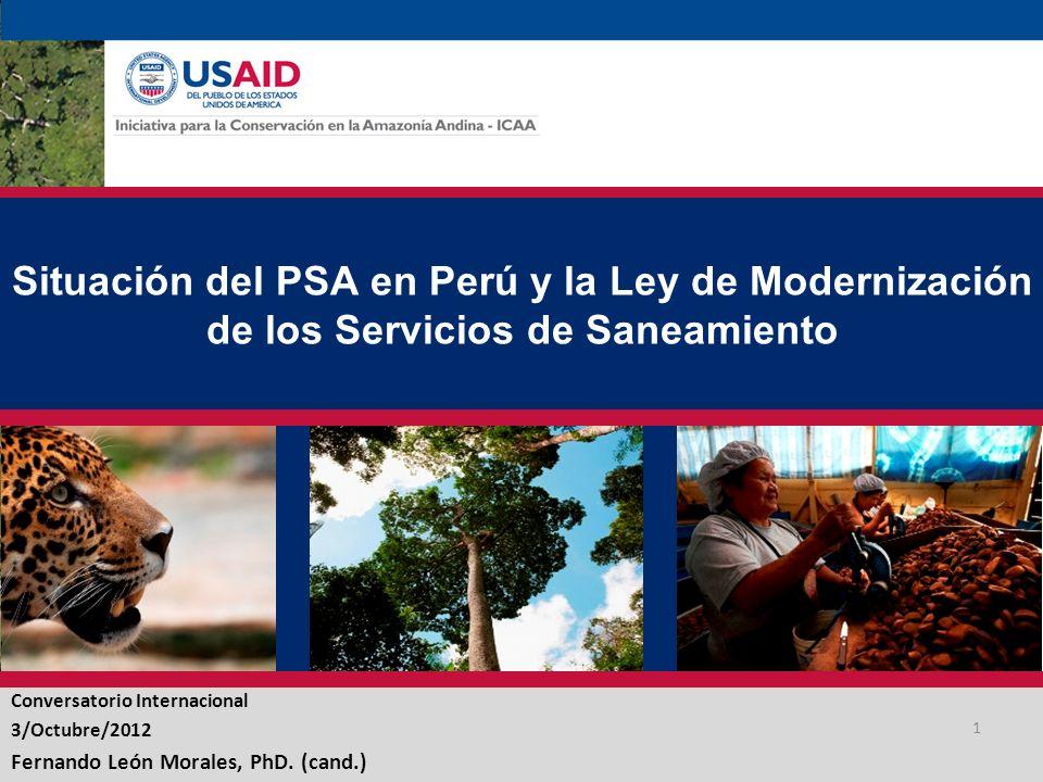 Situación del PSA en Perú y la Ley de Modernización de los Servicios de Saneamiento