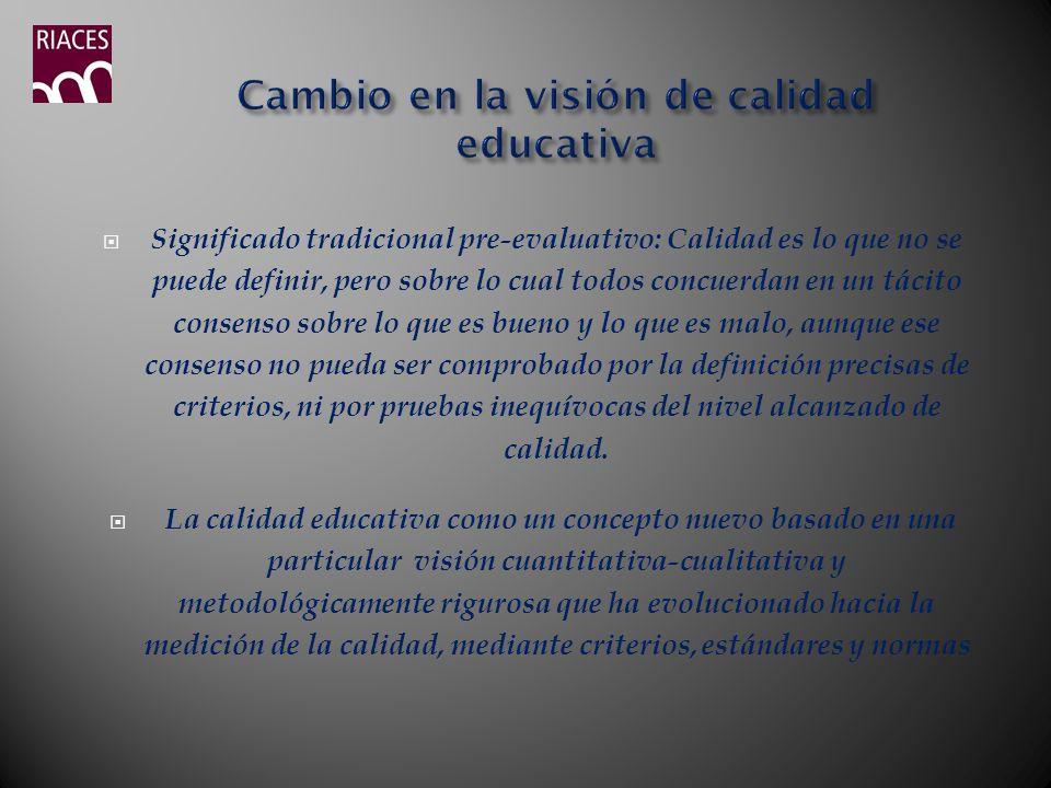 Cambio en la visión de calidad educativa