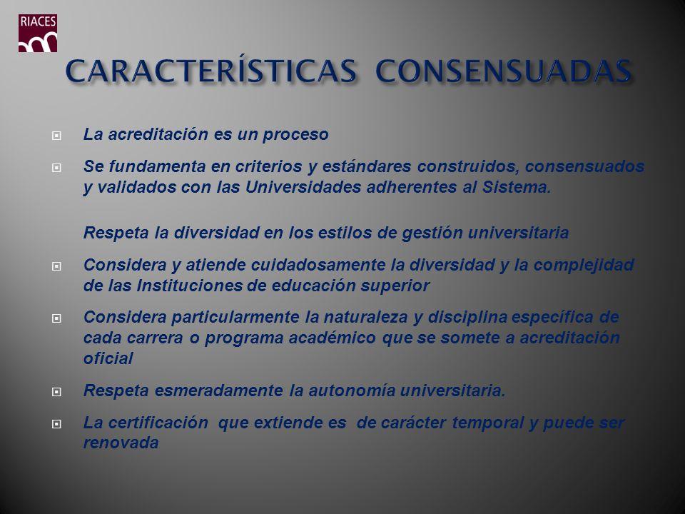 CARACTERÍSTICAS CONSENSUADAS