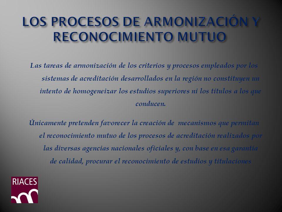 LOS PROCESOS DE ARMONIZACIÓN Y RECONOCIMIENTO MUTUO