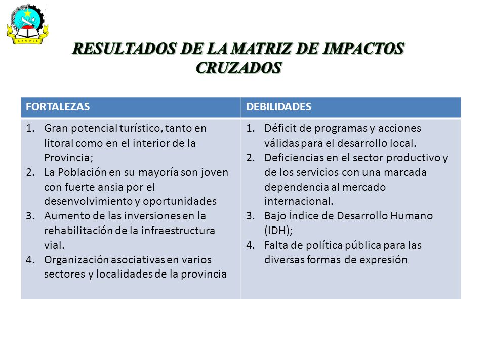 RESULTADOS DE LA MATRIZ DE IMPACTOS CRUZADOS
