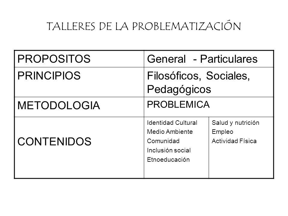 TALLERES DE LA PROBLEMATIZACIÓN