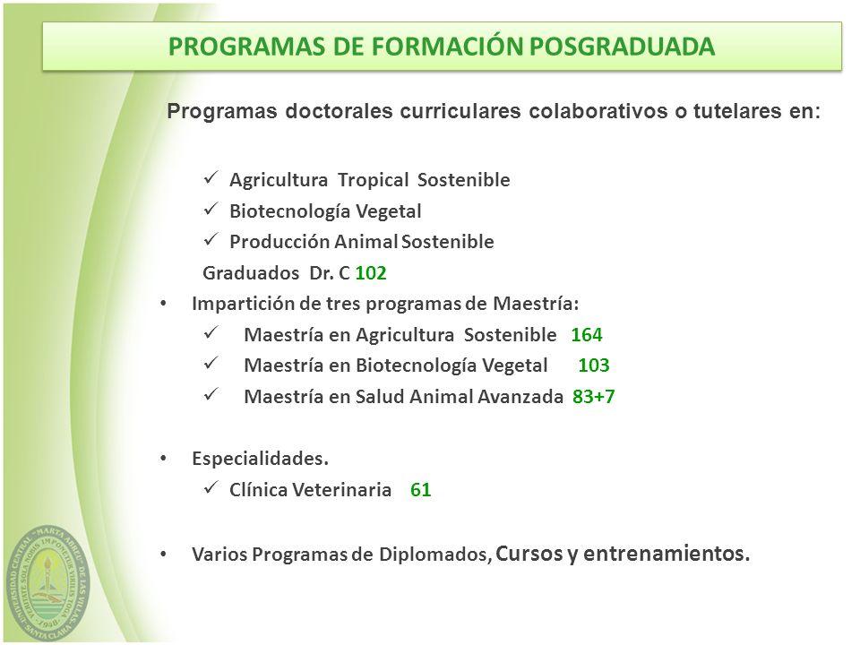 PROGRAMAS DE FORMACIÓN POSGRADUADA