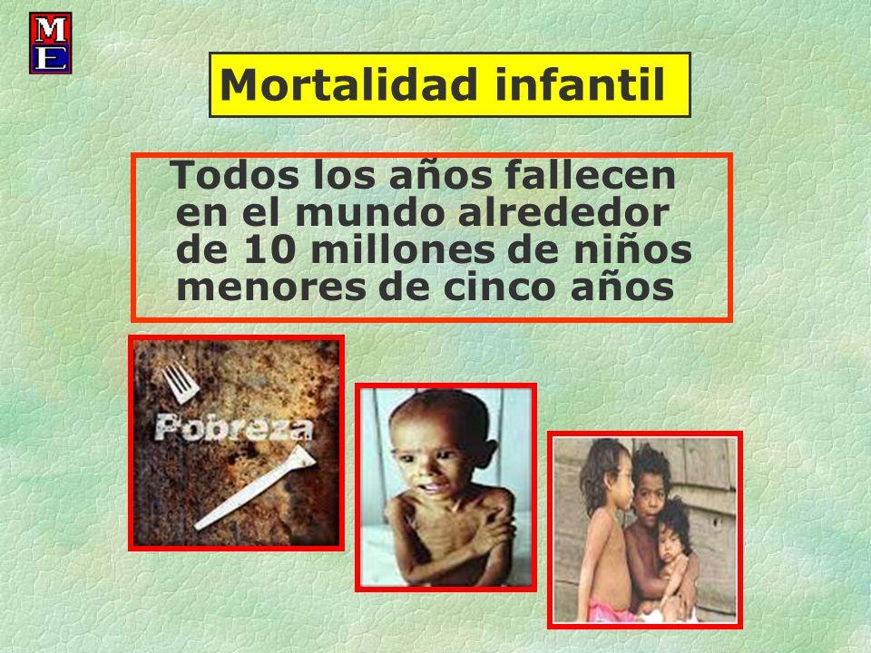 Mortalidad infantil Todos los años fallecen en el mundo alrededor de 10 millones de niños menores de cinco años.