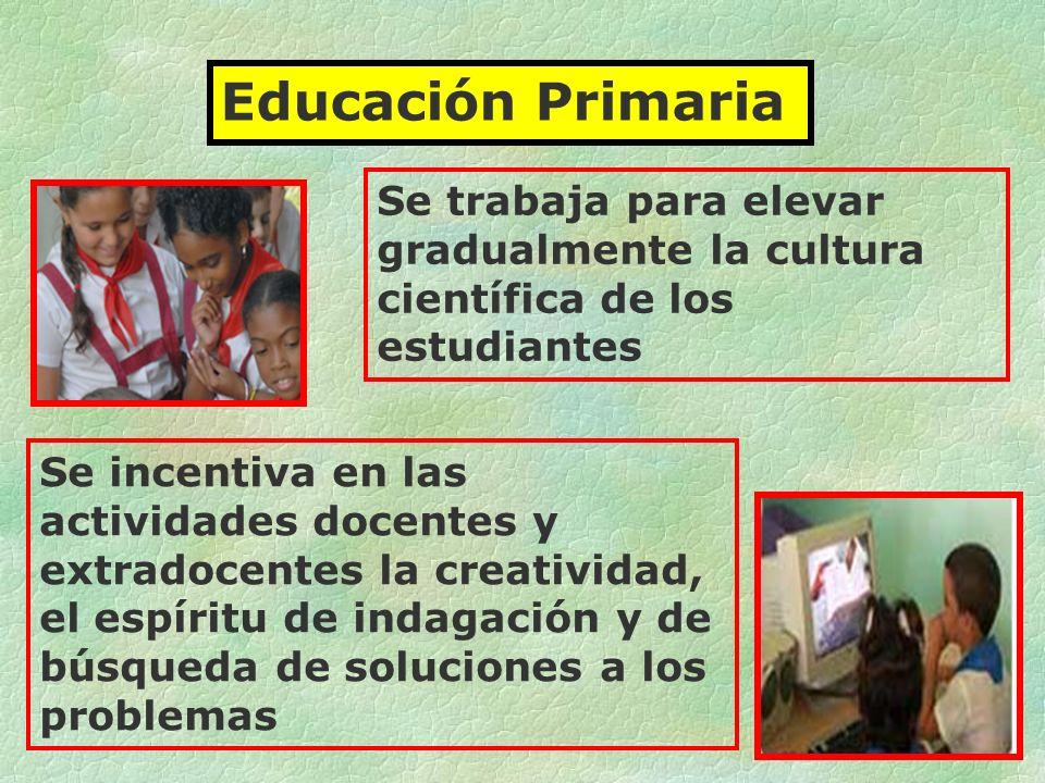 Educación Primaria Se trabaja para elevar gradualmente la cultura científica de los estudiantes.
