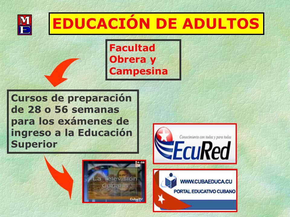 EDUCACIÓN DE ADULTOS Facultad Obrera y Campesina