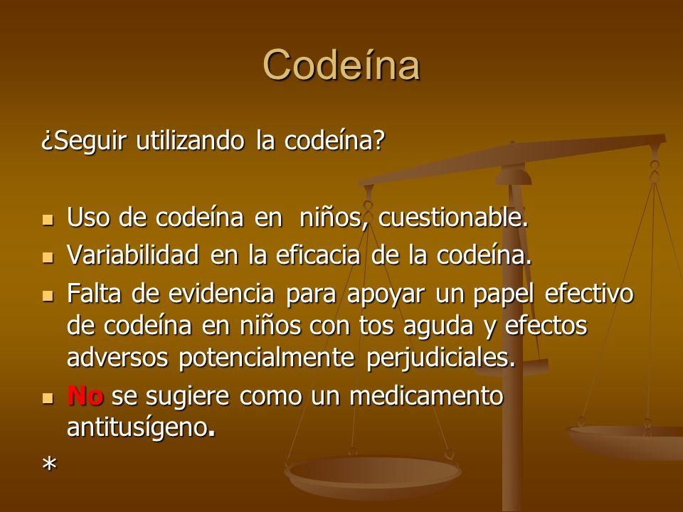 Codeína * ¿Seguir utilizando la codeína