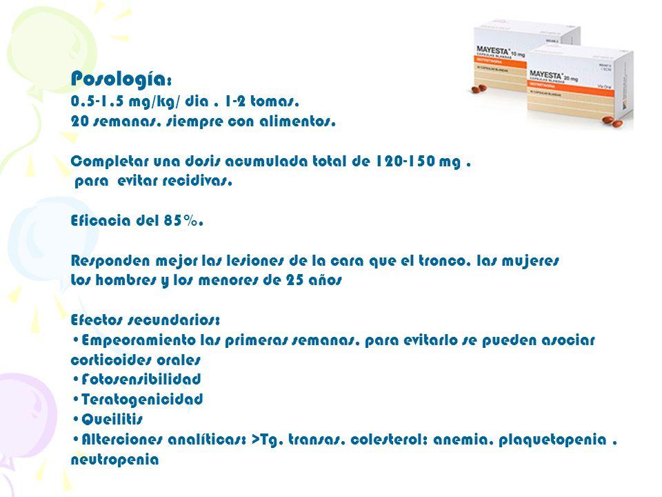 Posología: 0,5-1,5 mg/kg/ dia , 1-2 tomas,