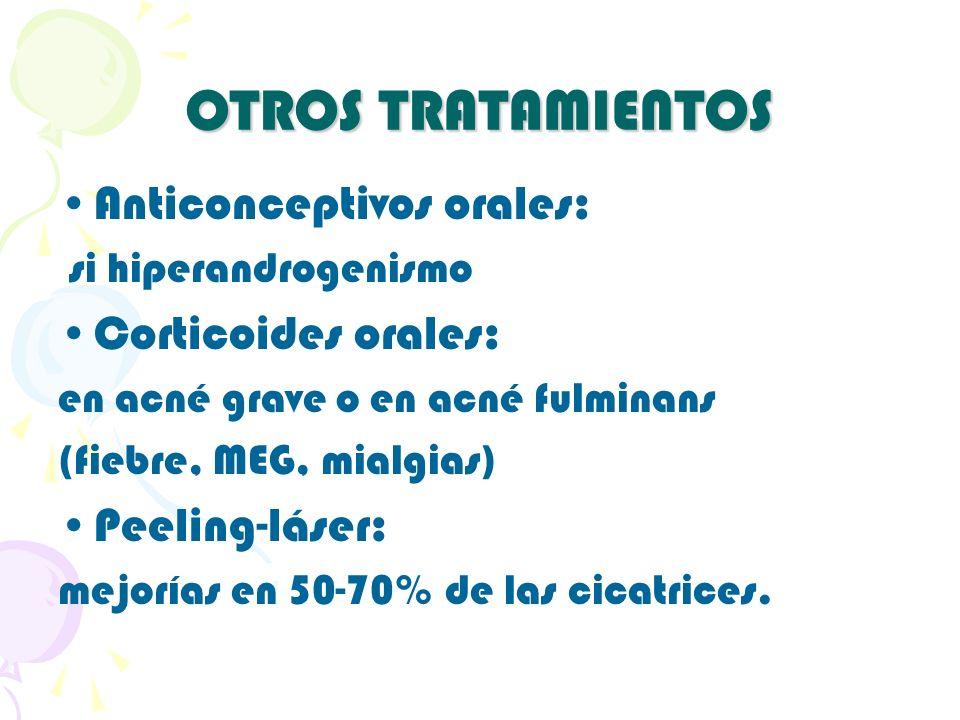 OTROS TRATAMIENTOS Anticonceptivos orales: Corticoides orales: