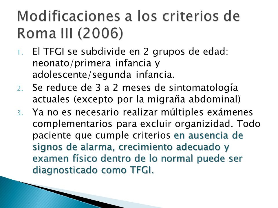 Modificaciones a los criterios de Roma III (2006)