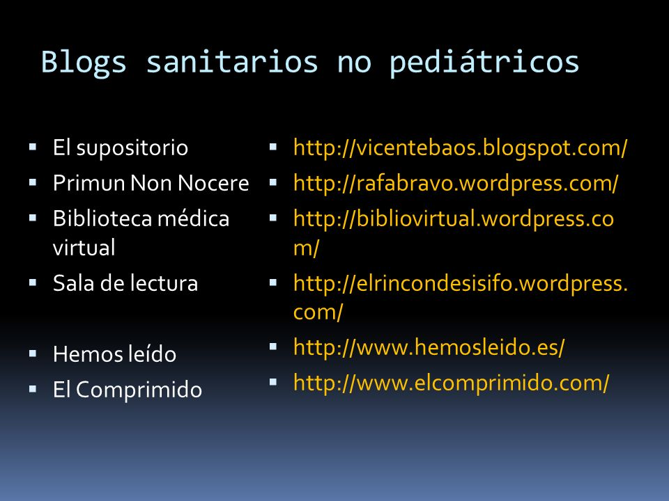 Blogs sanitarios no pediátricos