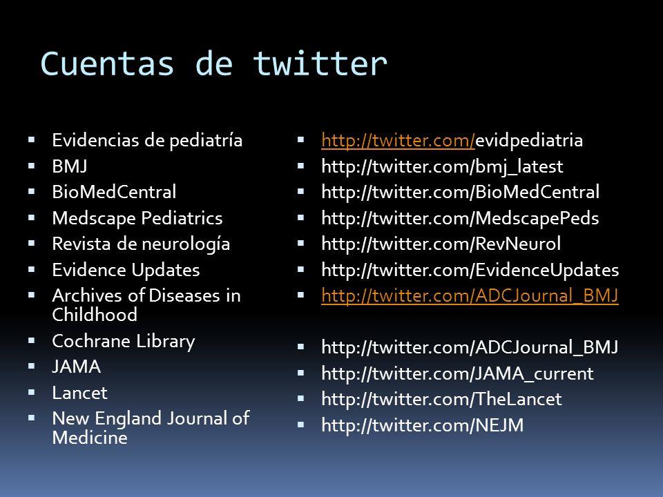 Cuentas de twitter Evidencias de pediatría BMJ BioMedCentral